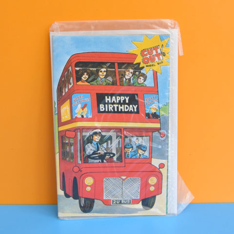 Vintage 1970s Greeting Card - Cut Out - Happy Birthday - Red London Bus