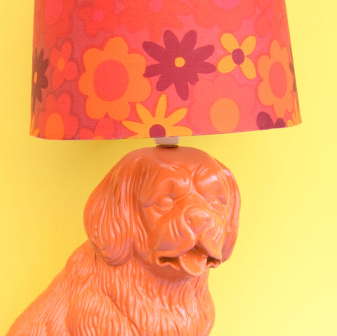 Vintage Ceramic Dog Lamp - Flower Power Shade - Orange