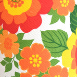 Vintage 1960s Table Lamp - White Ceramic - Flower Power Orange Shade