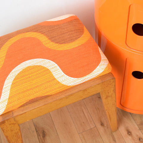 Vintage 1960s Wooden Stool - Orange Swirl Fabric