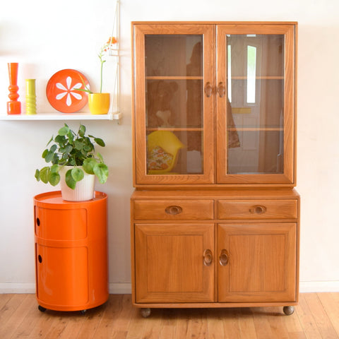 Vintage Ercol Display Cabinet / Sideboard - Elm & Beech Wood (Light)
