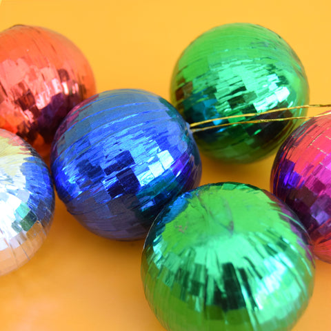 Vintage 1970s Foil Christmas Baubles / Decorations x 6
