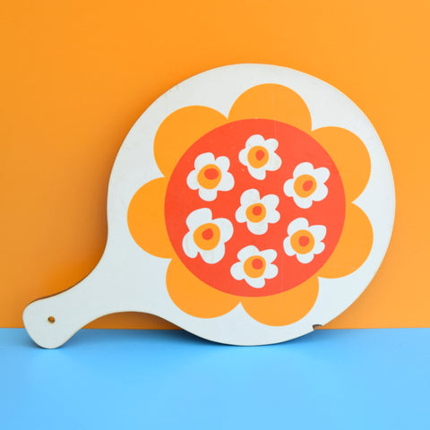 Vintage 1970s Flower Power Chopping Board - Orange