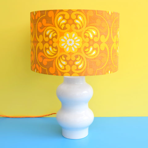 Vintage 1960s White Table Lamp - Yellow & Orange Swirl Shade