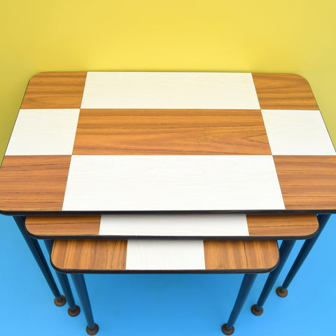 Vintage 1960s Nest Of Side Italian Tables - Formica Design