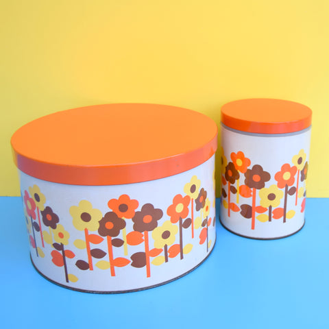 Vintage 1970s Metal Tin / Cake Tin - Flower Power - Orange