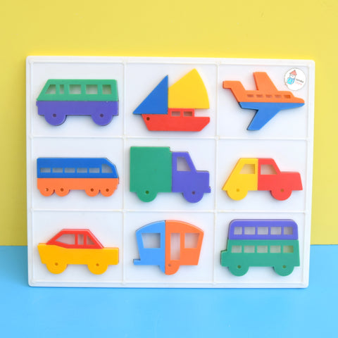 Vintage 1960s Plastic Puzzle - Transport - Bright Colours .