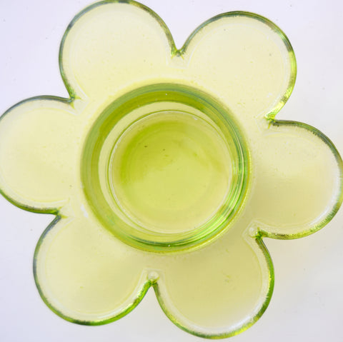 Vintage 1990s Glass Flower Candle Holders x2 - Lime Green