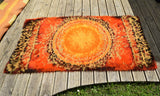 Vintage 1970s Shag Pile Rug - Geometric - Orange & Red