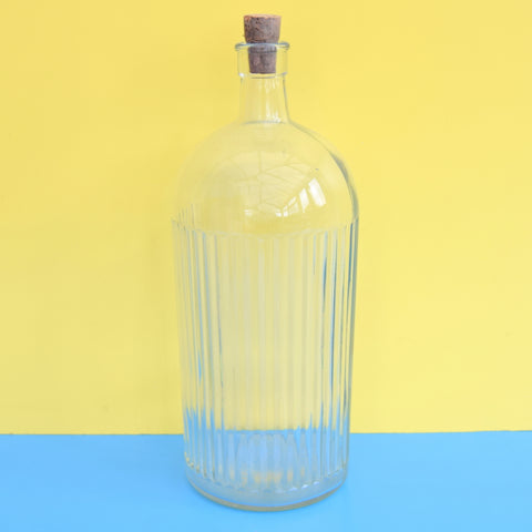 Vintage 1920s Ribbed Glass Poison Bottle - Huge - Clear