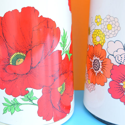 Vintage 1960s Giant Family Thermos Flasks - Flower Power Design