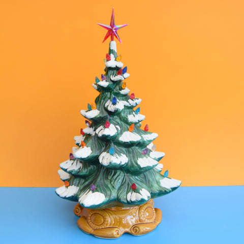 Vintage Ceramic Christmas Tree Lamp - Rainbow Flame Bulbs .