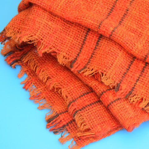 Vintage 1970s Loose Weave Blanket / Throw - Orange