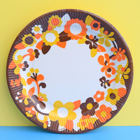 Vintage 1960s Paper Plates - Orange & Brown Flower Power x9