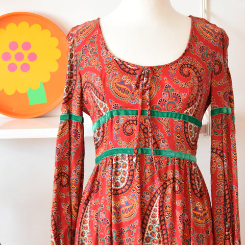 Vintage 1970s Maxi Dress - Dollyrockers - Paisley Size 12 ish