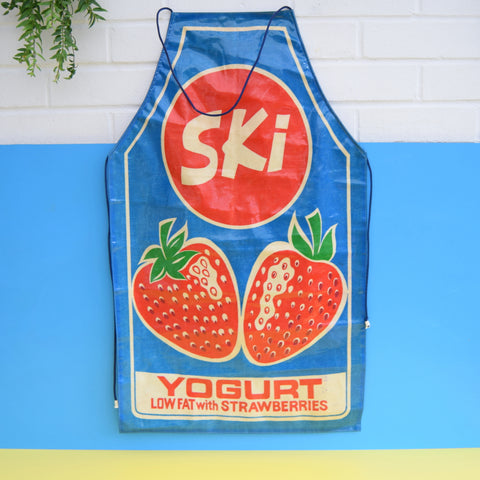 Vintage 1980s Ski Yoghurt Full Apron - PVC - Strawberry