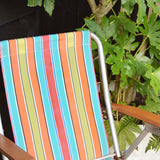 Vintage 1970s Folding Garden Chair / Parasol - Stripes- Orange, Blue
