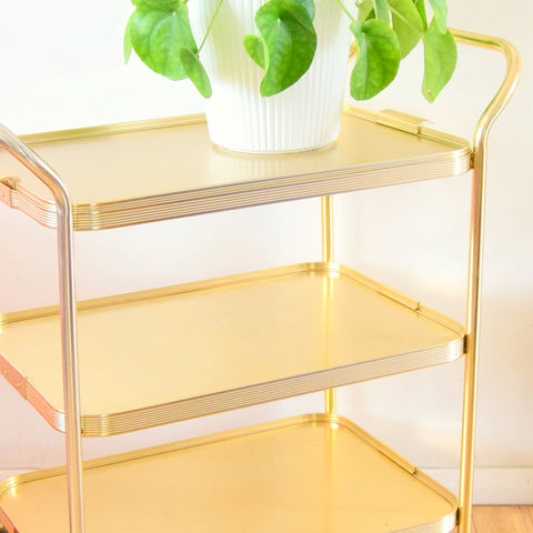 Vintage 1950s Aluminium Drinks / Plant / Display Trolley - Gold