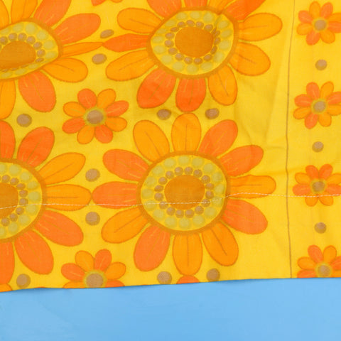 Vintage 1960s Curtains - Flower Power - Orange & Yellow