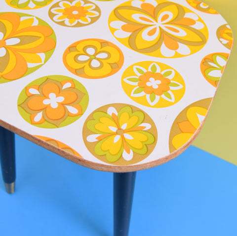 Vintage 1960s Small Side Table - Patterned Top - Flower Power - Orange