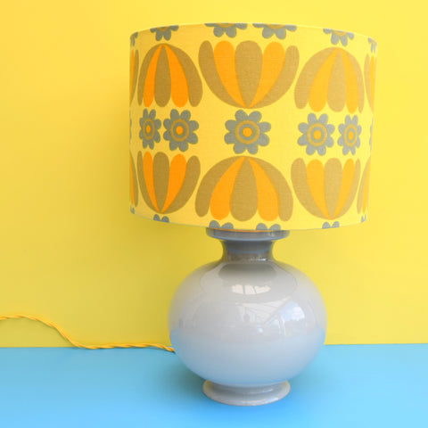 Vintage 1960s Glass Lamp - Flower Power Shade - Grey & Yellow