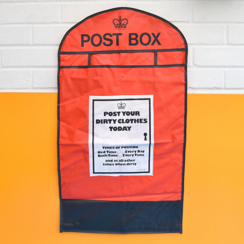 Vintage 1980s Vinyl Hanging Laundry Bag - Red Postbox