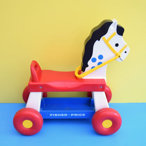 Vintage 1970s Plastic Toy Ride On Neighing Horse - Fisher Price
