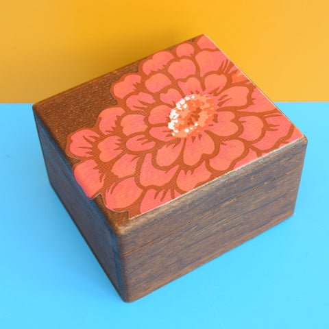 Vintage 1960s Small Wooden Box - Flower Power Top
