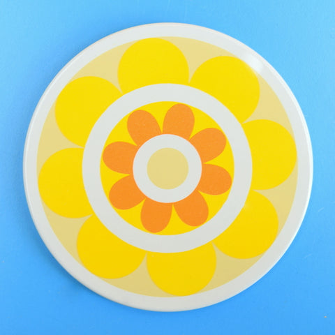 Vintage 1970s Coasters - Ian Logan Lollipop - Flower Power - Yellow