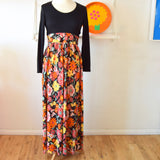 Vintage 1970s Maxi Dress - Flower Power - Size 14