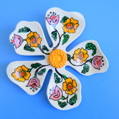 Vintage 1970s Enamel Brooch Pins - Flower Designs - Orange Mixed