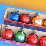 Vintage 1950s Small Glass Christmas Baubles / Decorations - Boxed 12