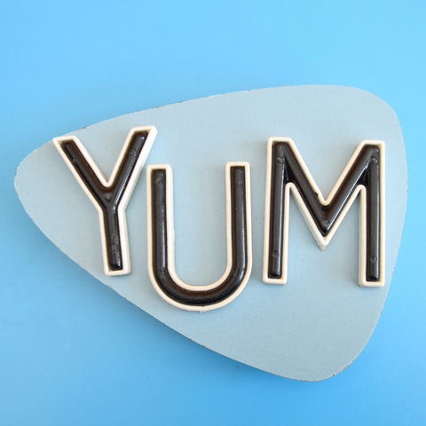 Vintage 1960s Formica / Plywood Wall Plaque / Sign- Yum
