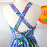 Vintage 80s Cross Back Fit & Flare Dress - Blue / Purple -  Sz 14
