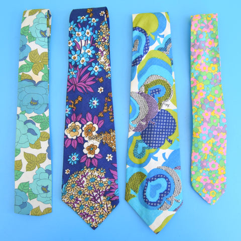 Vintage 1960s Fabric Ties - FLower Power - Choice Of Designs