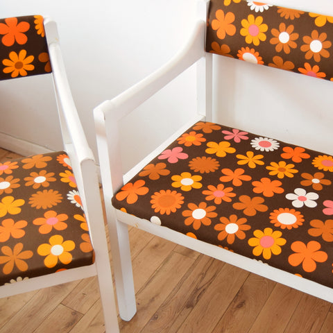 Vintage 1960s Bench / Chair Set - Genia Sapper Fabric - Flower Power