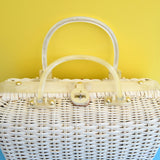 Vintage 1960s Handbag - Woven Wicker / Shell Design - Atlas USA