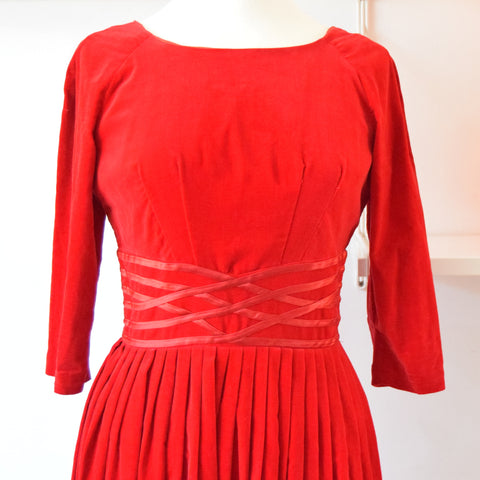 Vintage 1950s Fit & Flare Velvet Dress - Size 12 - Crimson Red