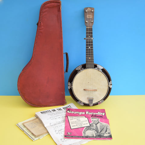 Vintage 1930s Banjo Ukulele With Case & Music - Melody Junior