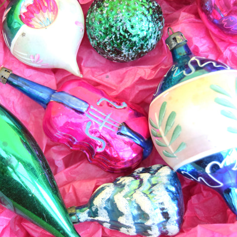 Vintage Mixed 1950s Glass Christmas Baubles Decorations - Boxed - Pink / Blue