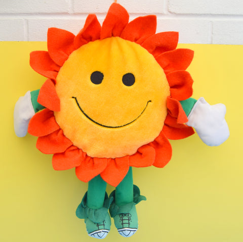 Vintage 1980s Large Cuddly Flower With Trainers - Play Walkers - Orange