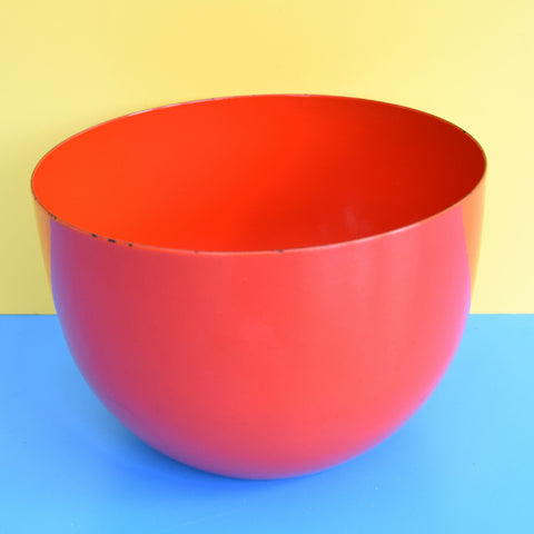 Vintage 1960s Enamel Large Bowl - Finel Arabia - Tomato Red / Orange