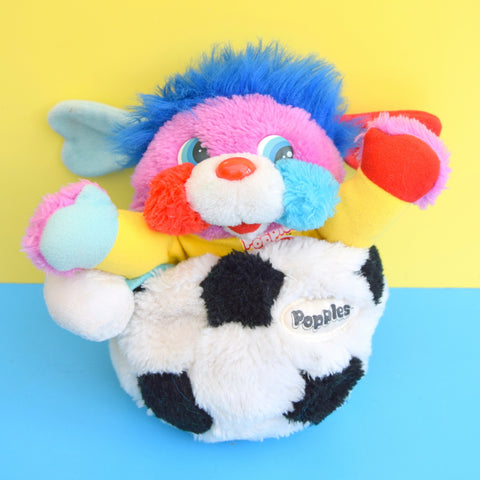 Vintage 1980s Cuddly Popple Soft Toy - Football Big Kick