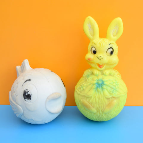 Vintage 1960s kitsch Plastic Bunny  / Fish Weeble Esk Toy