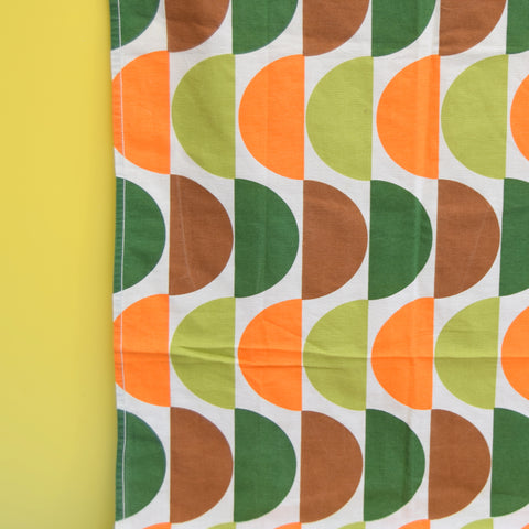Vintage 1960s Fabric / Curtains - Geometric - Orange & Green