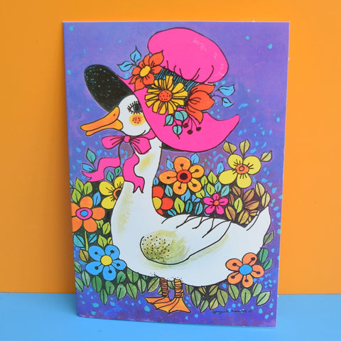 Vintage 1970s Greeting Card - by Gwyneth Mamlok - Mother Duck, Purple