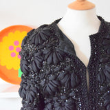 Vintage 1960s Quilted, Beaded & Sequined Jacket - Black