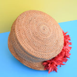 Vintage 1950s Peaked Straw Hat - Red Flowers