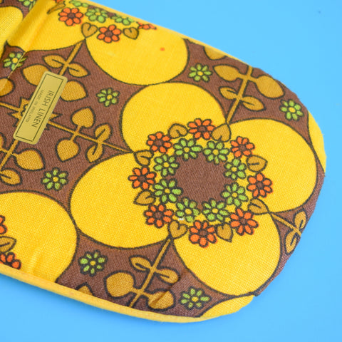 Vintage 1960s Flower Power Oven Glove - Orange, Brown & Yellow