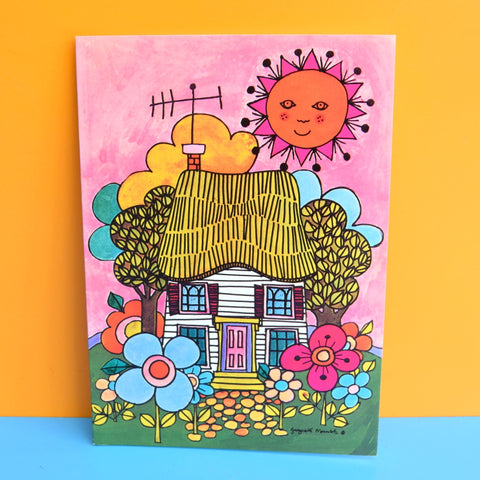 Vintage 1970s Greeting Card - by Gwyneth Mamlok - Summer Cottage, Pink